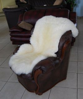 LARGE NATURAL WHITE SHEEPSKIN RUG 118/65cm EXTRA SOFT HAIR MUST SEE