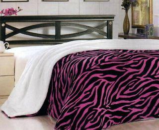 Zebra Pink Black Plush Super Soft Sherpa Blanket Queen Size New B18805