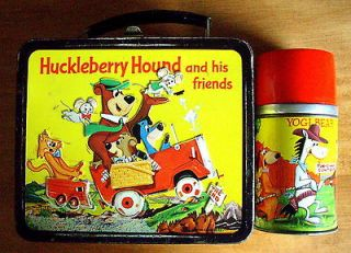 1961 HUCKLEBERRY HOUND & QUICK DRAW McGRAWV METAL LUNCH BOX AND