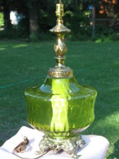 Retro Green Glass Ornate 3 Way Table Lamp Huge Vintage Green Glass