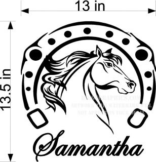CUSTOM VINYL WALL DECAL YOUR NAME HORSE & HORSESHOE