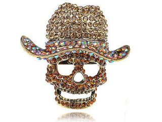 Giant Colorful Light Topaz Crystal Rhinestone Skull Cowboy Hat