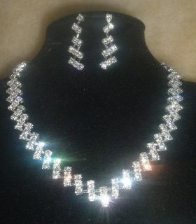 rhinestone wedding bridal jewelry necklace earring set £4.37