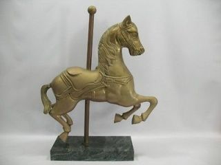 vtg Large Brass Carousel Horse Sculpture Statue Figure on Marble Base