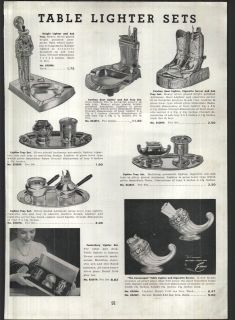 1951 AD Table Cigarette Lighters Cowboy Boots Banner Pencil Duoliter