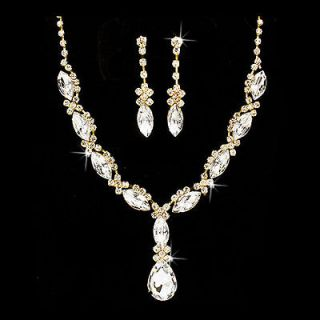 Bridal Wedding Jewelry Set Crystal Rhinestone Navette Cut Necklace