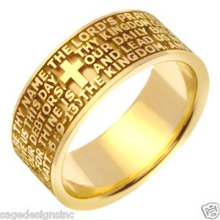 14K Gold Christian Bible Verse Cross Religious Wedding Band Ring