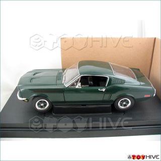1968 Green Ford Mustang Bullitt 118 diecast displayed