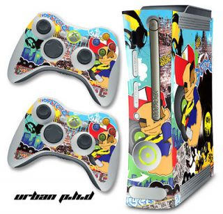 SKIN STICKER COVER DECAL FOR ORIGINAL XBOX 360 + 2 CONTROLLER MOD