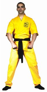 OFFICIALLY LICENSED BRUCE LEE MENS YELLOW KARATE SUIT ADULT LARGE