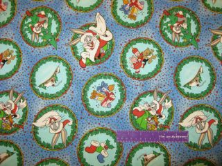 LOONEY TUNES Christmas Bugs Road Runner Fabric BTFQ