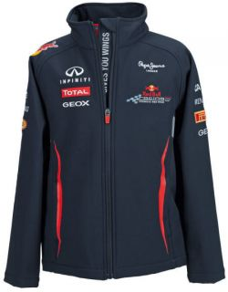 AUTHENTIC RED BULL RACING F1 TEAM KIDS SOFTSHELL JACKET NAVY BLUE