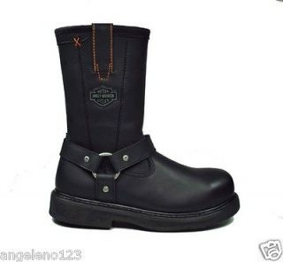 HARLEY DAVIDSON Black Leather Man Made Motorcycle Bill Boots 95328 Men