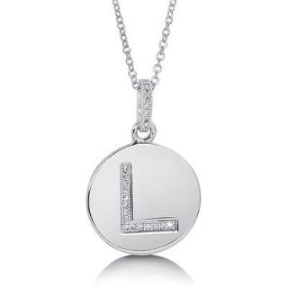 CUBIC ZIRCONIA STERLING SILVER INITIAL LETTER L PENDANT NECKLACE
