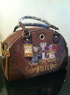 NWT Juicy Style Velour Dog Pet Carrier Travel Purse Bag Tote Brown