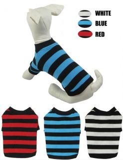 Pet Supply Wholesale Dog Clothes Sport T shirts Striped 100% Cotton