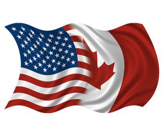 American Canadian Waving Flag USA Canada Car Vinyl Bumper Sticker