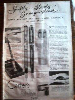 1930 Antique CARTERS Pearltex Fountain Pen Pencil Ad
