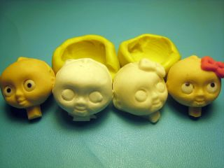 Baby Faces Silicone Mold Gumpaste Fondant Cake polymer & metal clay