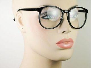 Womens Mens Eyeglasses Large Round Clear Lens Black Frame Glasses