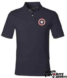 Captain America Custom Embroidery Shield Avengers Marvel Comics Polo