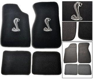 FORD MUSTANG COBRA BLACK CARPET FLOOR MATS 4 PIECES W/ STITCH LOGO