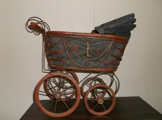 Vintage wicker baby doll stroller,carri​age,buggy