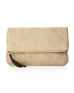 by Romeo & Juliet Couture Cassie Snake Embossed Clutch Bag, Stone