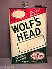 VINTAGE WOLFS HEAD MOTOR OIL CAN 1 GALLON METAL OIL CAN EMPTY