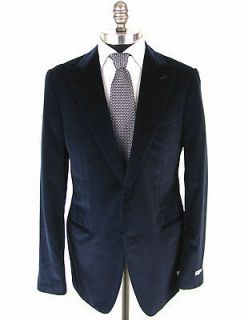 New CARUSO Blue Cotton/Cashmere Velvet 2Btn Peak Tuxedo Coat Jacket 42