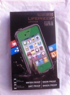 USED Lifeproof Waterproof case iPhone 4S 4 GREEN w headphone adapter