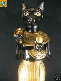 EGYPTIAN LARGE GODDESS BASTET DEITY 12 STATUE FIGURINE