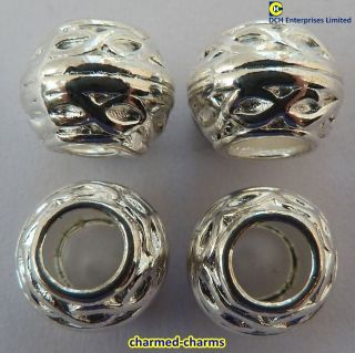 Pack of 4 Silver Plated Patterned Charm Bracelet Spacer Beads (Bulk