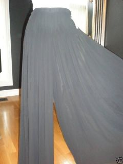 Simon Chang Black Sheer Lined Pleated Palazzo Pants 8 $275 BNWT