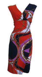 Navy Orange Glamour Print Draping Shift Dress Cherie Size 8 New