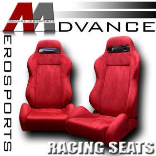 Red Reclinable Racing Bucket Seats+Sliders L+R Chevy (Fits Chevrolet