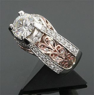 CT 14KW & 14K ROSE GOLD MOISSANITE & DIAMOND RING