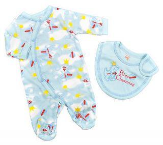 Mon Cheri Newborn Boy Prince Charming Coverall W/Bib Size Preemie 0/3M