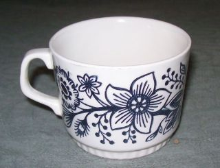 Blue Flowers & Bird BOCH La Louviere Coffee Cup Mug Belgium Collector