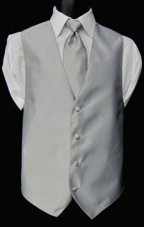 Mens Medium Jean Yves Silver Fullback Vest & Tie Wedding Prom Discount