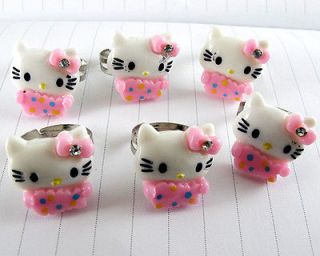 Crystal Pink White Resin Hello Kitty Cat Childrens/kids Rings