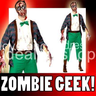 MENS ZOMBIE GEEK FANCY DRESS HALLOWEEN COSTUME DEAD HIGH SCHOOL NERD