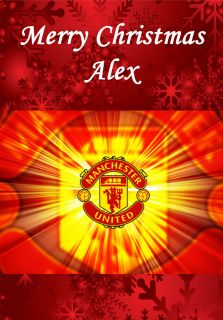 MAN UNITED PERSONALISED CHRISTMAS CARD SON DAD GRANDAD BROTHER NEPHEW