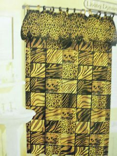 NEW LEOPARD ZEBRA ANIMAL PRINT FABRIC SHOWER CURTAIN, LINER, AND HOOKS
