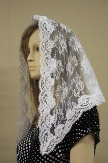 White veil mantilla Catholic church chapel scarf lace headcovering