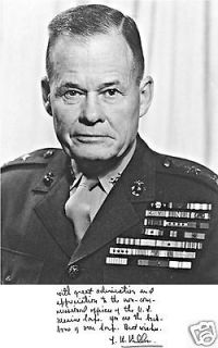 Gen. Lewis Chesty Puller Photo w/ Printed Signature
