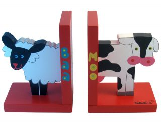 Baa Sheep & Moo Cow Bookends By Tatutina   Unique Childrens Gift