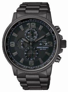 Citizen Eco Drive CA0295 58E Nighthawk Flight Chronograph Black IP Men