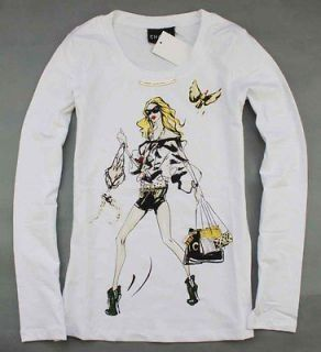 Moschino 18093 Sexy Fashion Girl White T Shirt/Top/Te​e Size S XL