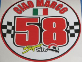 Marco Simoncelli 58 ciao marco bike sticker decals X 2 stickers 58
